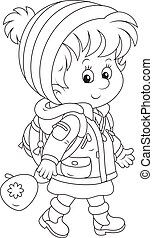 Schoolchild in winter clothes - Little schoolgirl in a...