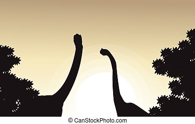 Collection of brachiosaurus landscape silhouettes