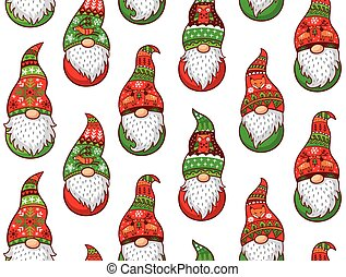 Winter gnomes seamless pattern - Christmas gnomes in red and...