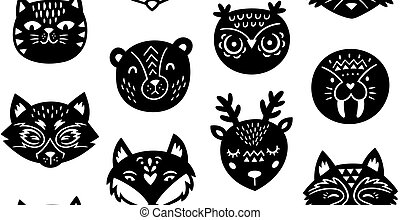 Animal paper cut seamless pattern - Paper cut animals...