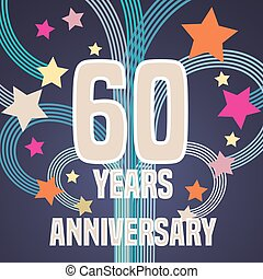 60 years anniversary vector illustration, banner, flyer,...