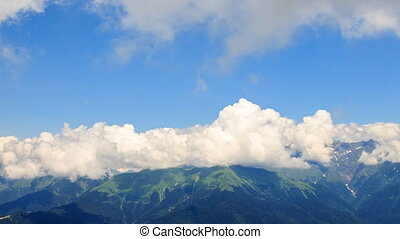 Clouds change. Time Lapse. Zoom. Krasnaya Polyana, Sochi,...