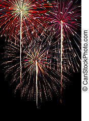 Magnificent Fireworks background vertical image - Colorful...