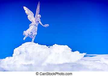 Playful angel flying in the sky over white clouds