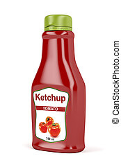 Ketchup bottle on white background