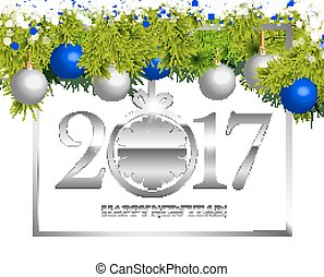 New year Vintage Border, Isolated On White Background,...