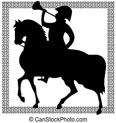 Horseman abstract silhouette on white background