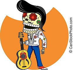 Vector illustration of skeletons - Musician with the guitar....