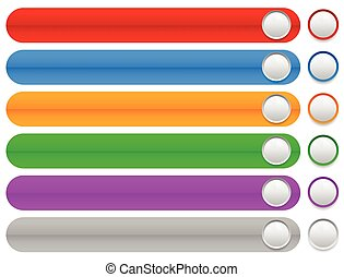 Colorful horizontal, long buttons, banners with rounded corners