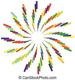 Colorful radial circular element. Multicolor geometric...