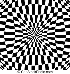 Checkered pattern with distortion effect. Deformed,...