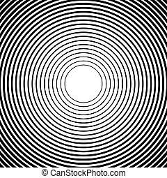 Concentric circles, radial lines pattern(s). Monochrome...