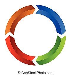 Segmented circle arrow. Circular arrow icon. Process,...