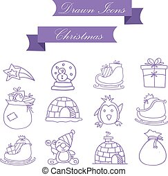 Vector of Christmas icons collection