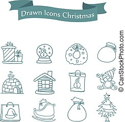 Vector art of Merry Christmas icons