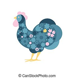 Rooster Farm Bird Colored In Artictic Modern Style Filled With Blue And Pink FloralPattern Colorful Illustration