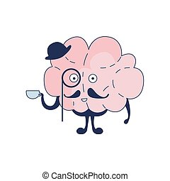 Brain English Gentleman Comic Character Representing Intellect And Intellectual Activities Of Human Mind Cartoon Flat Vector Illustration