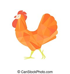 Rooster Farm Bird Colored In Artictic Modern Style Filled With Orange Shade Mosaic Pattern Colorful Illustration