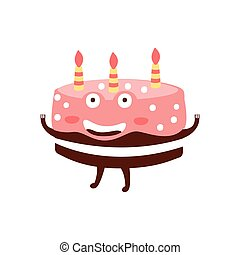 Chocolate Birthday Cake With Three Candles Children Birthday Party Attribute Cartoon Happy Humanized Character In Girly Colors