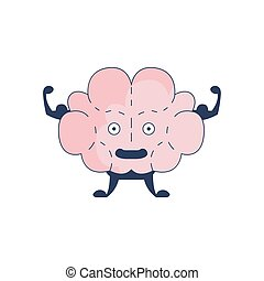 Brain Showing Strong Biceps Comic Character Representing...
