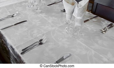 Empty Table - Empty table set with white tablecloth,...