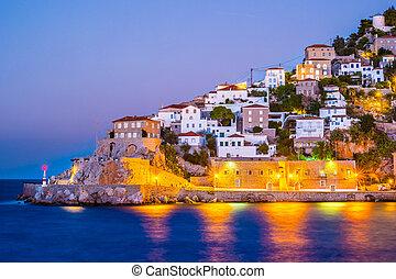 estate, grecia, notte, idra, isola