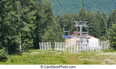 Cable Chairlift on ski slope. Sochi, Russia