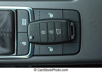 Car remote control key in vehicle interior - Modern Car...