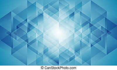 Blue tech shiny geometric polygonal video animation - Blue...