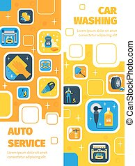 Car Wash Service Vertical Flat Banners - Auto Service with...