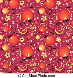 Red Currant floral pattern like a Khokhloma style - Red...