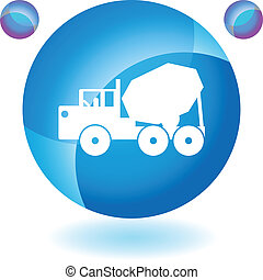 Cement Truck web button isolated on a background