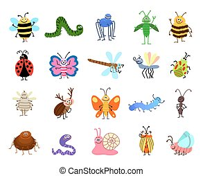 Funny bugs. Vector cute insects isolated on white background...