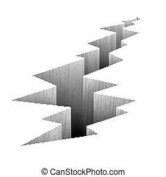 Crack fault line in ground vector illustration. Crack in...
