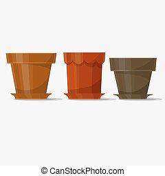 Flower pots. Vector - Flower pot, tree pots set for plants....