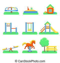 Kids playground set. Icons with swings and objects. Slide,...