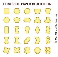 Paver block icon - Concrete paver block or paver brick...