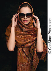 beautiful arabic woman wearing sunglasses