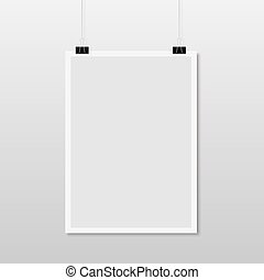 white paper hanging on background.