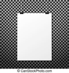 white paper hanging on transparency background.