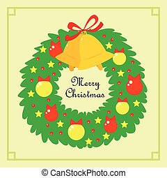 Christmas Wreath With Baubles and Bells Postcard