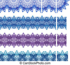 Set of four computer made lace patterns in blue and purple