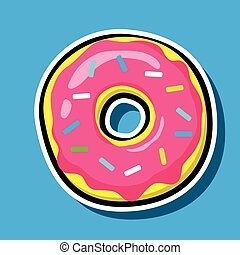 Donut vector icon isolated on blue. Pop art Cool Patch,...