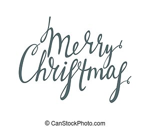 Handwrite calligraphic inscription Merry Christmas - Hand...