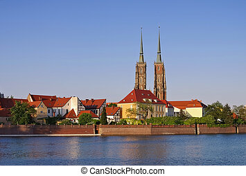 Breslau the cathedral and river Oder