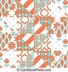 Red and green patchwork pattern.