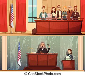 Law Courtroom 2 Vintage Banners Set - American law and...