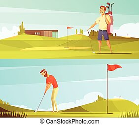 Gols Players 2 Retro Banners Set - Golf players at course 2...