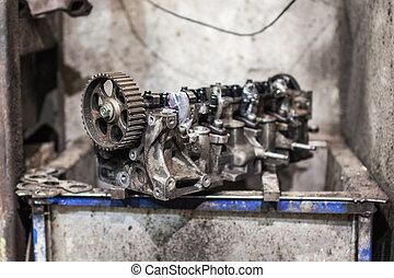 Open old block on four cylinder engine