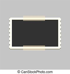 Flat vector photo frame on transparency duct tape. Template...